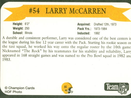 Packers Hall of Fame player Larry McCarren