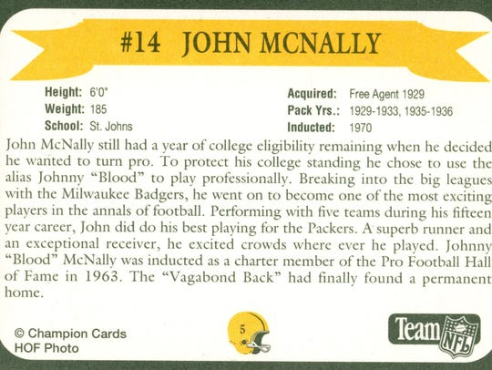 Packers Hall of Fame player Johnny McNally