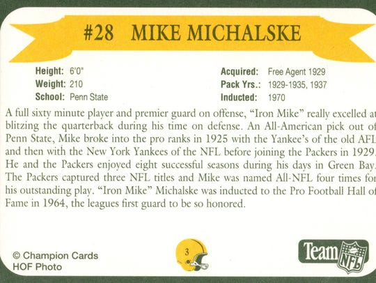 Packers Hall of Fame player Mike Michalske