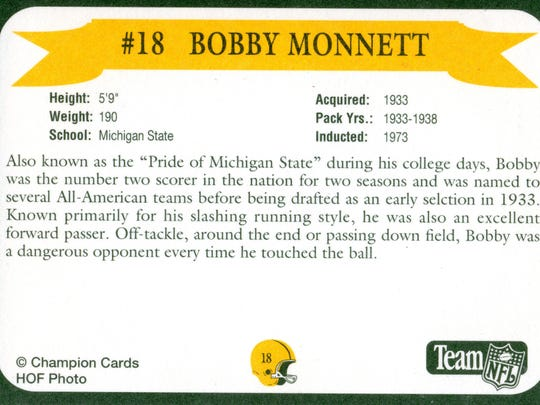 Packers Hall of Fame player Bobby Monnett