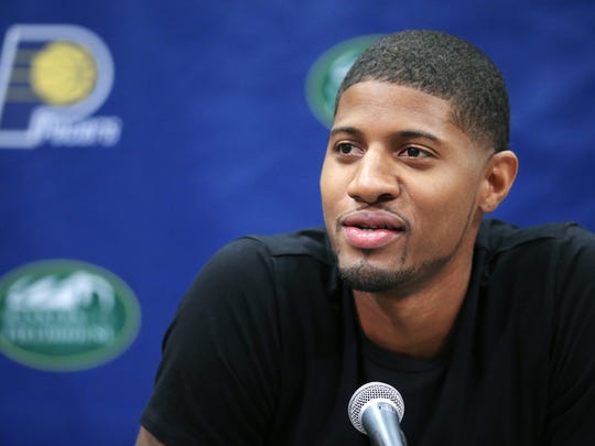 Indiana Pacers forward Paul George fields questions from the media about his leg injury sustained while playing for Team USA in Las Vegas,  his recovery and his future during a press conference held at Bankers Life Fieldhouse on Friday, August 15, 2014.