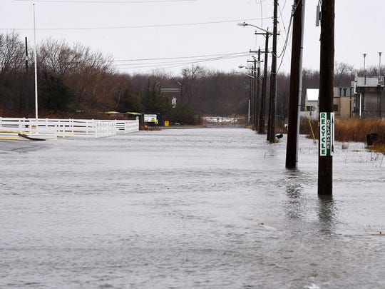 Flooding on American Legion Road in Lewes.