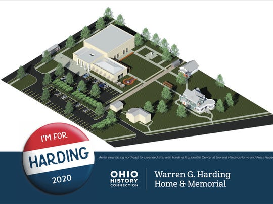 An artist's rendering shows an aerial view of what the campus of the Harding Home Presidential Site will look like after completion of the Warren G. Harding Presidential Center. The 15,000-square foot museum and research facility is scheduled to open in the spring of 2020. The project will cost an estimated $7.3 million to complete.