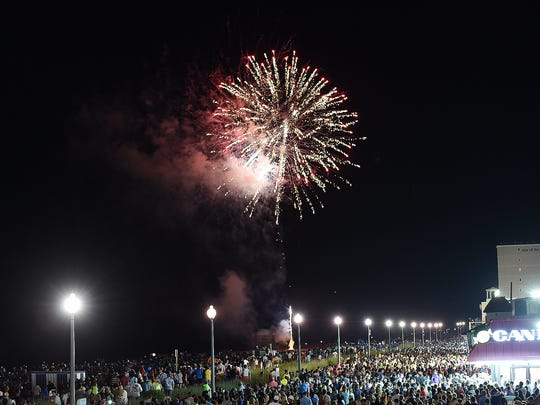 A huge crowd was on hand to view the pyrotechnics as the Annual Rehoboth Beach Fireworks were shot off on Sunday Evening July 3rd from the beach.