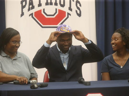 Oakland football player JaCoby Stevens, announces that he will commit to LSU on Monday, Aug. 8, 2016, in front of the senior body and football players.