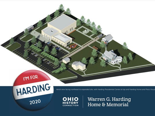 Plans for the Harding Presidential Home Site's expansion include a presidential library and gallery, top. The 29th President's home on Mount Vernon Avenue is shown at lower right.