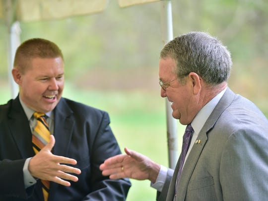 State Sen. Rich Alloway, left, greets interim mayor Walt Bietsch during ceremony at J. Hase Mowrey Regional Wastewater Treatment Facility in Chambersburg. A dedication ceremony was held at the facility on Monday, October 16, 2017.