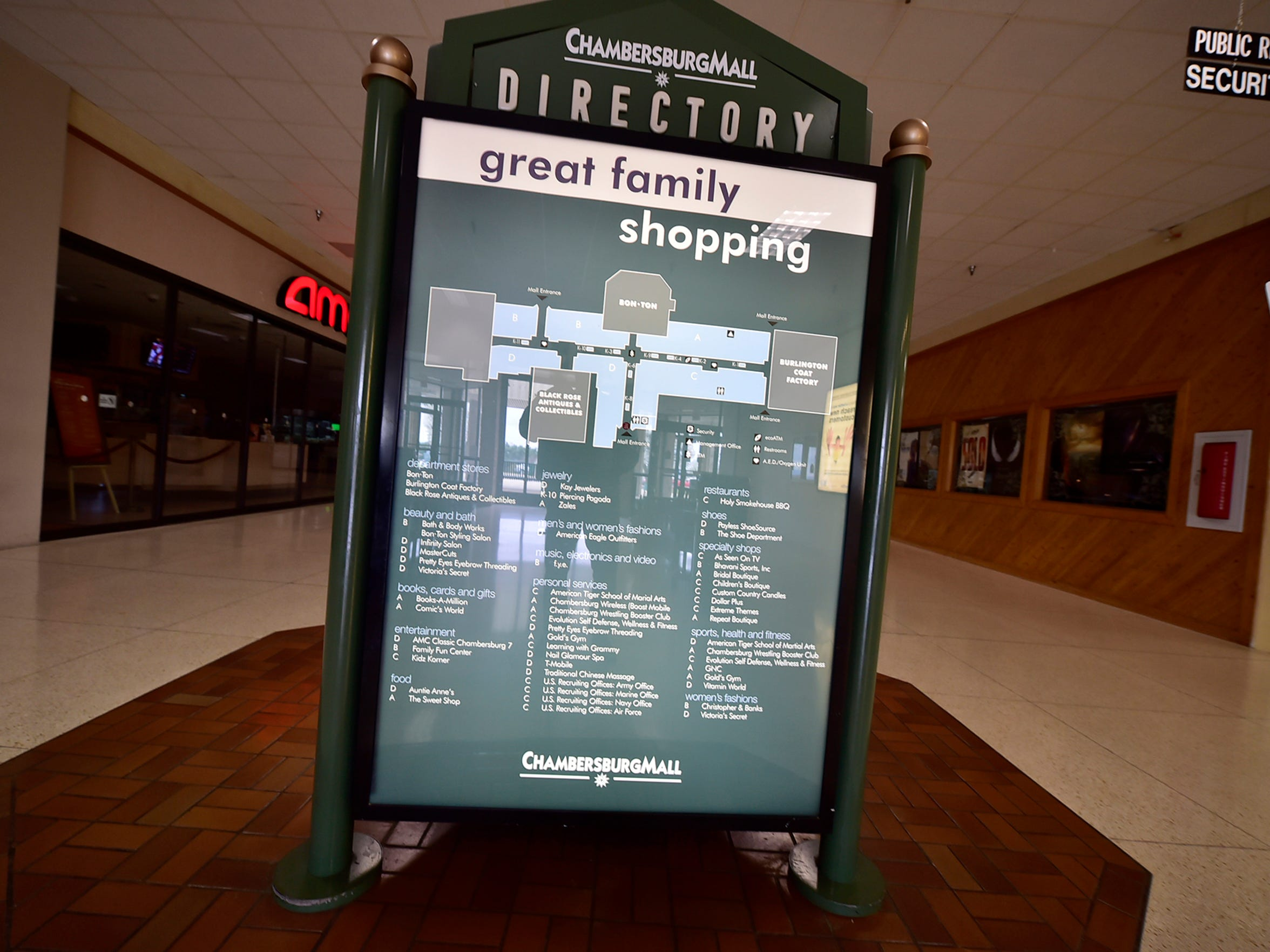 A store directory at Chambersburg Mall. The mall has about 38 tenants and quite a few empty stores.