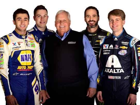 The Hendrick Motorsports team includes, from left,