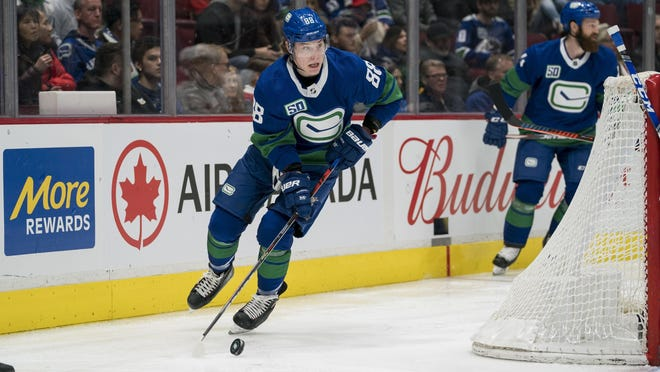 Vancouver Canucks forward Adam Gaudette (88) skates against the Calgary Flames during the second period in a game at Rogers Arena om Feb. 8, 2020.