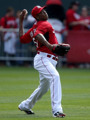 Cincinnati Reds relief pitcher Aroldis Chapman throws a pitch as Reds  during Season Ticket Holder Appreciation Day.