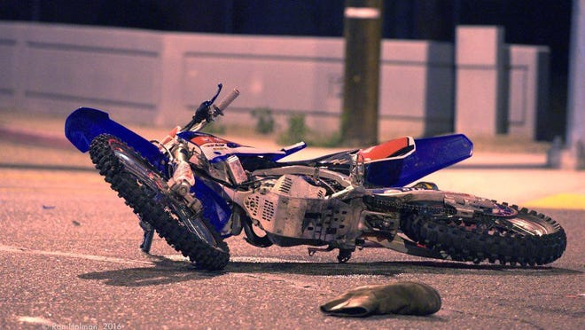 A dirt bike rider was injured in a south Visalia crash Saturday night.