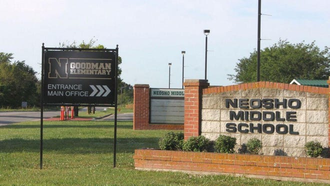 File - Neosho Middle School signage pictured. In a recent roundup of activities, Superintendent Dr. Jim Cummings said the district plans to have broken ground on a Middle School Safe Room.