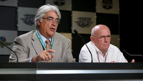 Mark Miles, CEO Hulman & Company,left, and Derrick