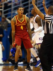 Iowa State Cyclones guard Donovan Jackson (4) celebrates