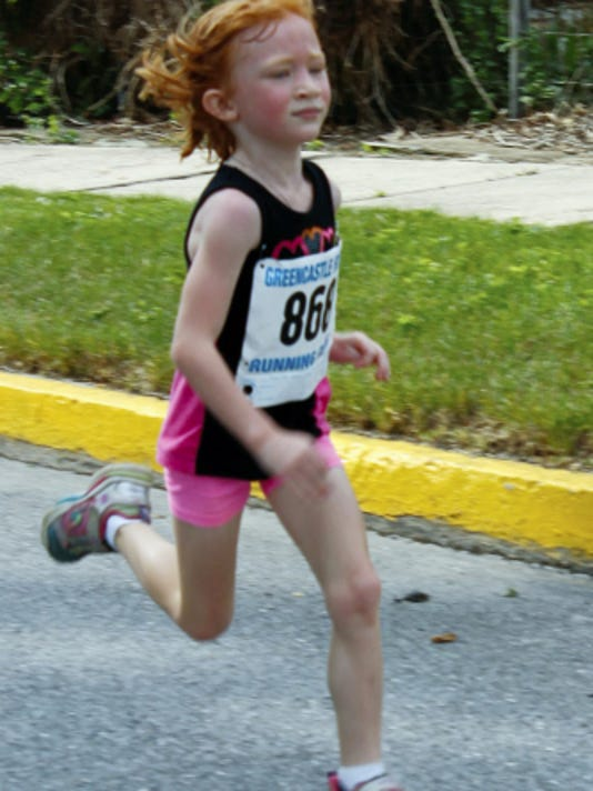 Mary Rotz, 6, on June 13 ran three miles in 32 minutes, 48 seconds in McConnellsburg's Strawberry Stampede 5K race.