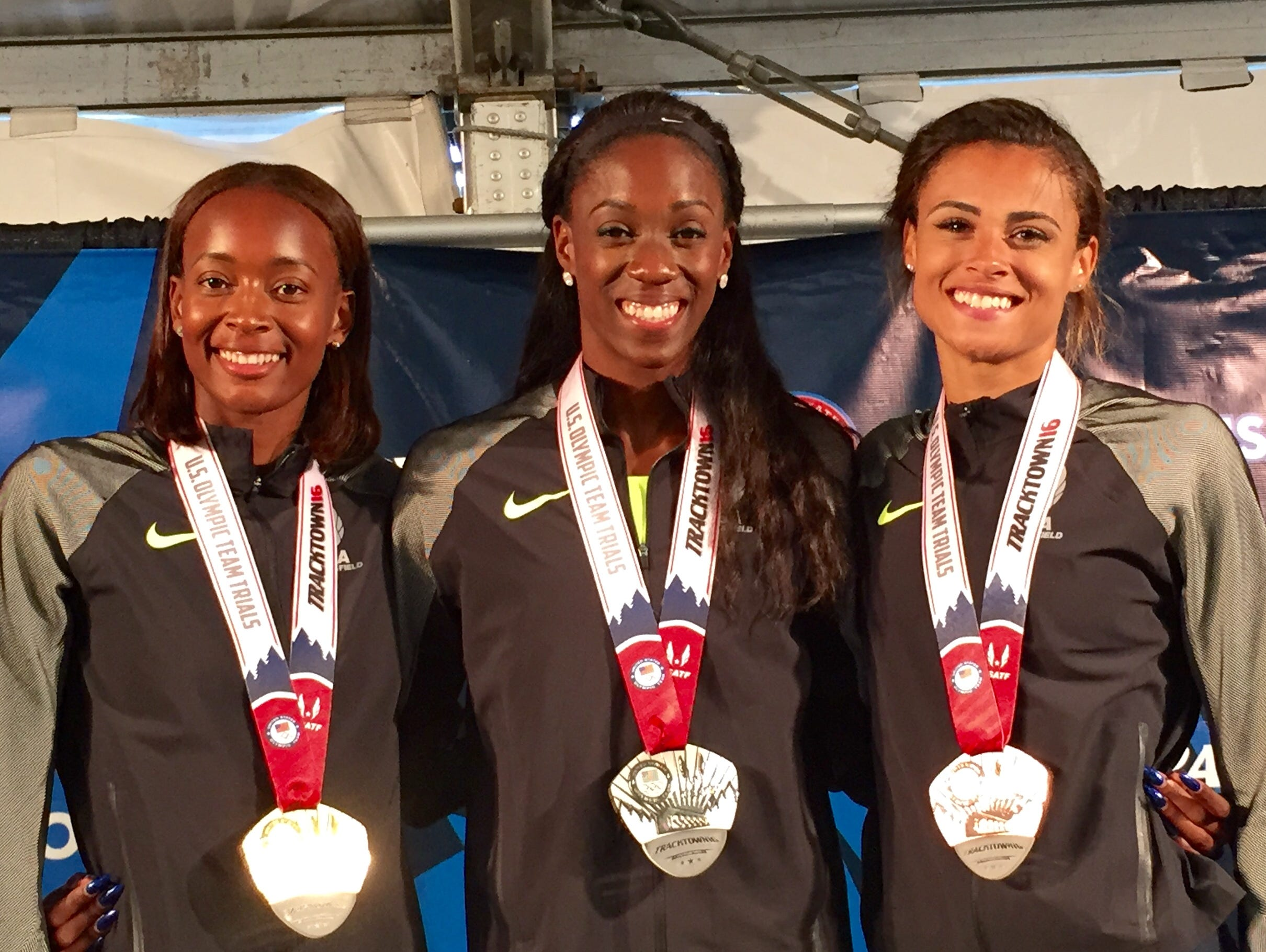Olympians in 400-meter hurdles: From left, Dalilah Muhammad, Ashley Spencer, Sydney McLaughlin