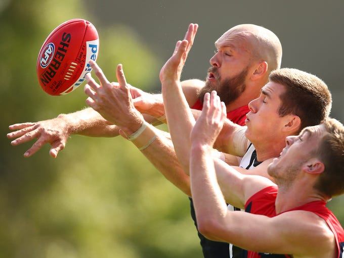 Max Gawn of the Demons and Mason Cox of the Magpies