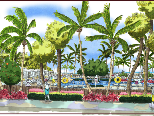 A conceptual view of the proposed TPI Hospitality resort beach-side social club and water park, from the point of view of someone looking at it from Estero Boulevard in the town of Fort Myers Beach.