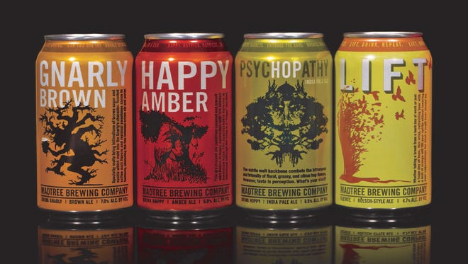 Cans of MadTree Brewing Company beer.