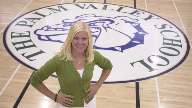 The Palm Valley School senior Blaire Babcock poses for a photograph inside the school gym in Rancho Mirage.