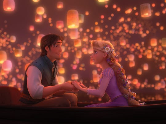 "A scene from ""Tangled"" with Rapunzel, Flynn."