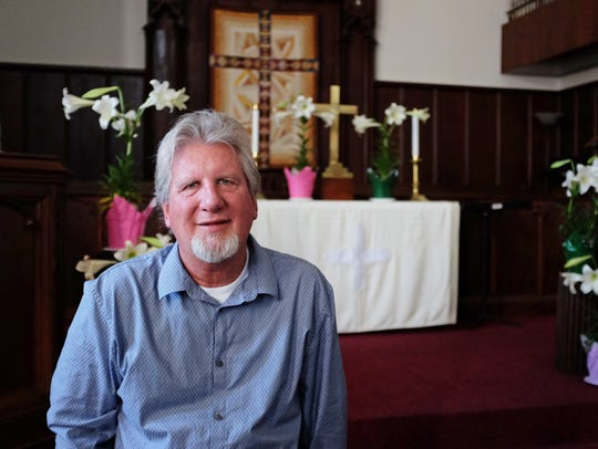 Pastor Steve Lundin, photographed inside the First