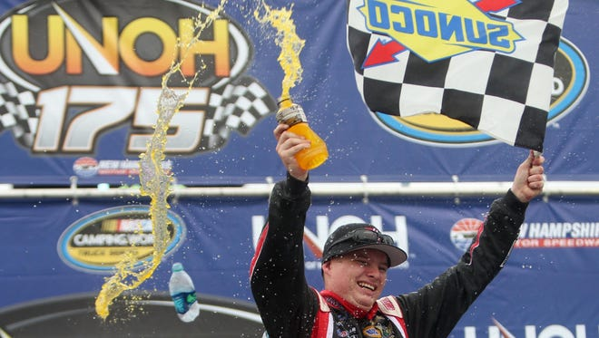 Cole Custer, 16, celebrates his first Camping World Truck Series victory.