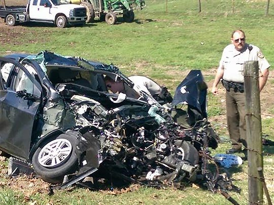 The black 2015 Chevrolet Sonic that Paul Wilkerson, 30, of Bethpage crashed on Dobbins Pike in Portland on Tuesday, March 29, 2016 was completely demolished.