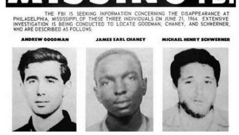 The FBI's 1964 reward poster for the three missing civil rights workers, Andrew Goodman, James Chaney and Michael Schwerner.