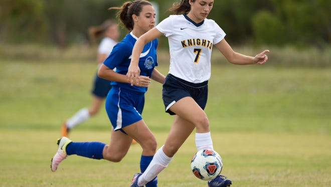 Images of Sebastian River against The Pine School during the high school girls soccer game Wednesday, Nov. 2, 2016, at The Pine School in Hobe Sound.