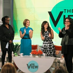 Whoopi Goldberg, left, Nicolle Wallace, Rosie Perez and Rosie O'Donnell talked about race on Thursday.