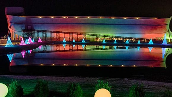 Ark bathed in rainbow lights