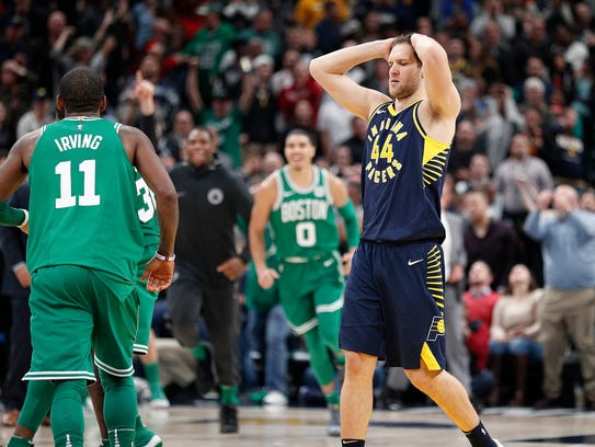 A dejected Indiana Pacers Bojan Bogdanovic (44) following