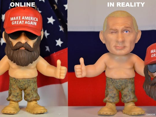"Chuck Williams' latest doll is a disguised version of Russian President Vladimir Putin wearing a red ""Make America Great Again Hat,"" sunglasses and beard."