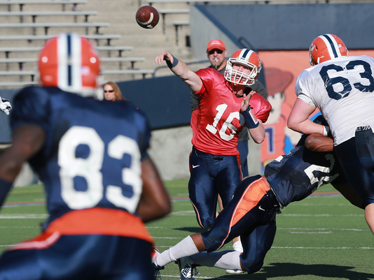 UTEP quarterback Mack Leftwich pases to receiver Tyler Natson at at recent scrimmage game.
