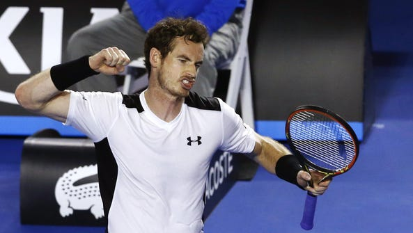 Andy Murray of Britain celebrates after defeating David