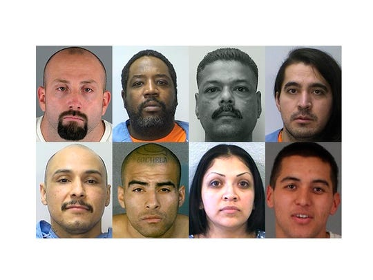 Riverside County sent eight convicts to death row in 2015, the most of any county in the United States. From left to right, top row then bottom: Robert Duson, Tyrone Harts, Naresh Narine, Miguel Enrique Felix, Juan Coronado Jr., Angel Esparza, Belinda Magana and Francisco Roy Zavala Jr.