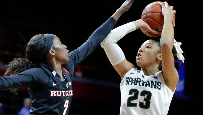 Aerial Powers, right, is one of 12 prospects scheduled to attend Thursday's WNBA draft at Mohegan Sun Arena.