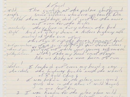 An early hand-written version of the lyrics for Bruce