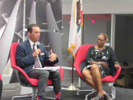 U.S. Rep. Steve Knight, R-Palmdale, makes a point during a  2017 panel discussion on bringing more women into the aerospace industry.