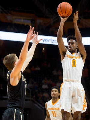 Tennessee's Jordan Bone (0) attempts a shot during the first half against Vanderbilt at Thompson-Boling Arena on Wednesday, Feb. 22, 2017.