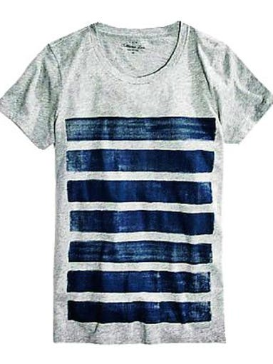 A new riff on the ubiquitous breton stripe. The modern Bar Stripe Tee, $34.50 at J.Crew Factory Store at Opry Mills.