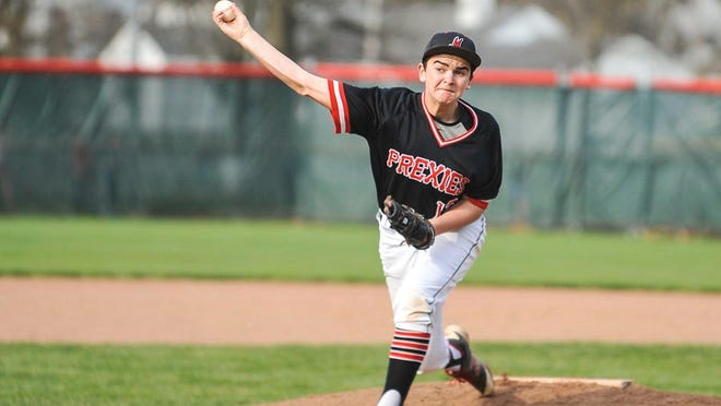 Marion Harding's Sam Mitchell unleashes a pitch during a non-league baseball game against Northridge last season.