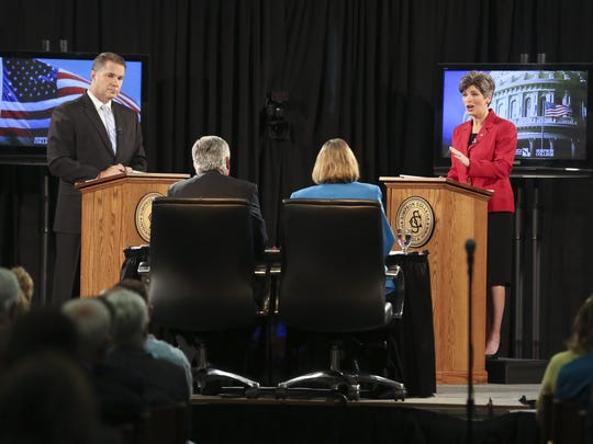Joni Ernst (at right), Republican candidate for U.S.