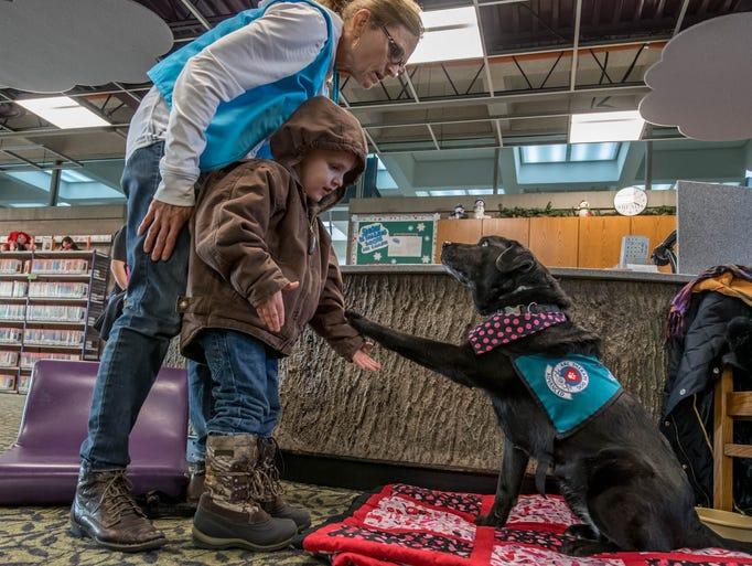 Dog owner Karen Slack helps four year old Connor Stewart