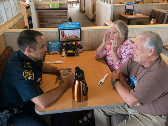 Montgomery police had a chance to sit down with city residents over a cup of coffee on Tuesday, Aug. 18, 2015, at the IHOP at 2950 East South Blvd., Montgomery.
