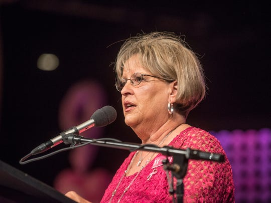 Donna McCord, president of Women of Hope, addresses the audience. The Women of Hope signature luncheon Celebration of Hope in support of people coping with breast cancer was held Tuesday, Oct. 20, 2015, at Frazer Memorial United Methodist Church in Montgomery.