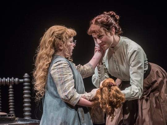 """Young actress Brooklyn Norstedt as Helen Keller and Marina Shay as Anne Sullivan in a  scene from """"The Miracle Worker"""" during a run through Friday, March 2, 2018, at the Alabama Shakespeare Festival in Montgomery, Ala."""