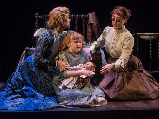 """Jenny Strassburg, left, as Kate Keller, young actress Brooklyn Norstedt as Helen Keller and Marina Shay as Anne Sullivan in a  scene from """"The Miracle Worker"""" during a run through Friday, March 2, 2018, at the Alabama Shakespeare Festival in Montgomery, Ala."""